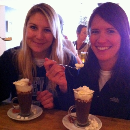 Becky and Kate warming up post-photoshoot. Hot chocolate in the pub was called for!